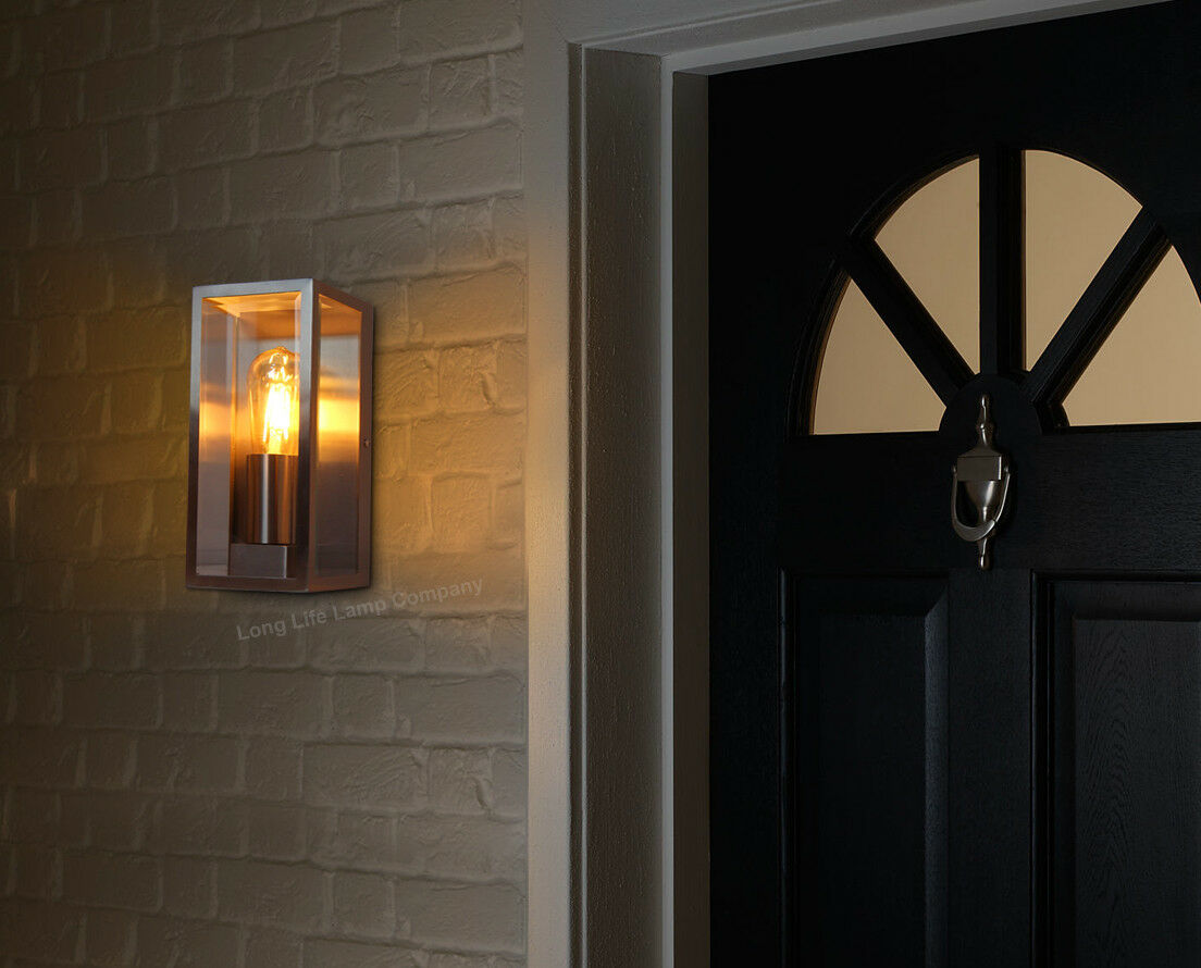 Vintage Retro Rectangle Outdoor Garden Wall Light Clear Glass Lantern Door  Light