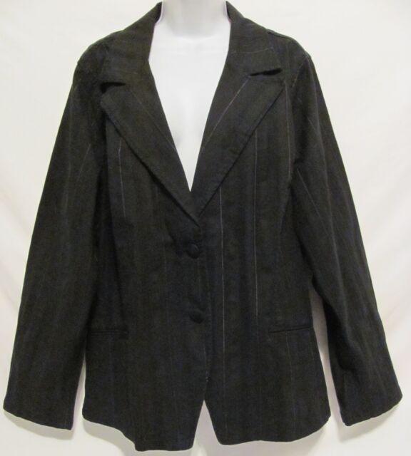 New! Lane Bryant Venezia Womens 22/24 Plus Size Stretch Blazer Black Jacket Coat