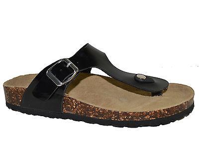 LADIES WOMENS FLAT SUMMER COMFORT CORK TOE POST FLIP FLOPS SLIP ON MULE SANDALS