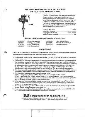 Pexto Roper Whitney 0581 Owners Manual