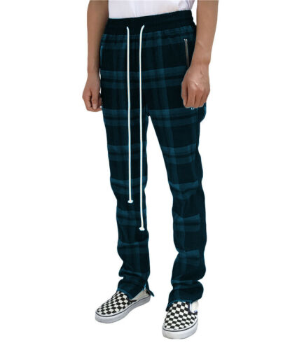 Mens Slim Fit Plaid Casual Chinos Jeans Skinny Stretch Trousers Pants