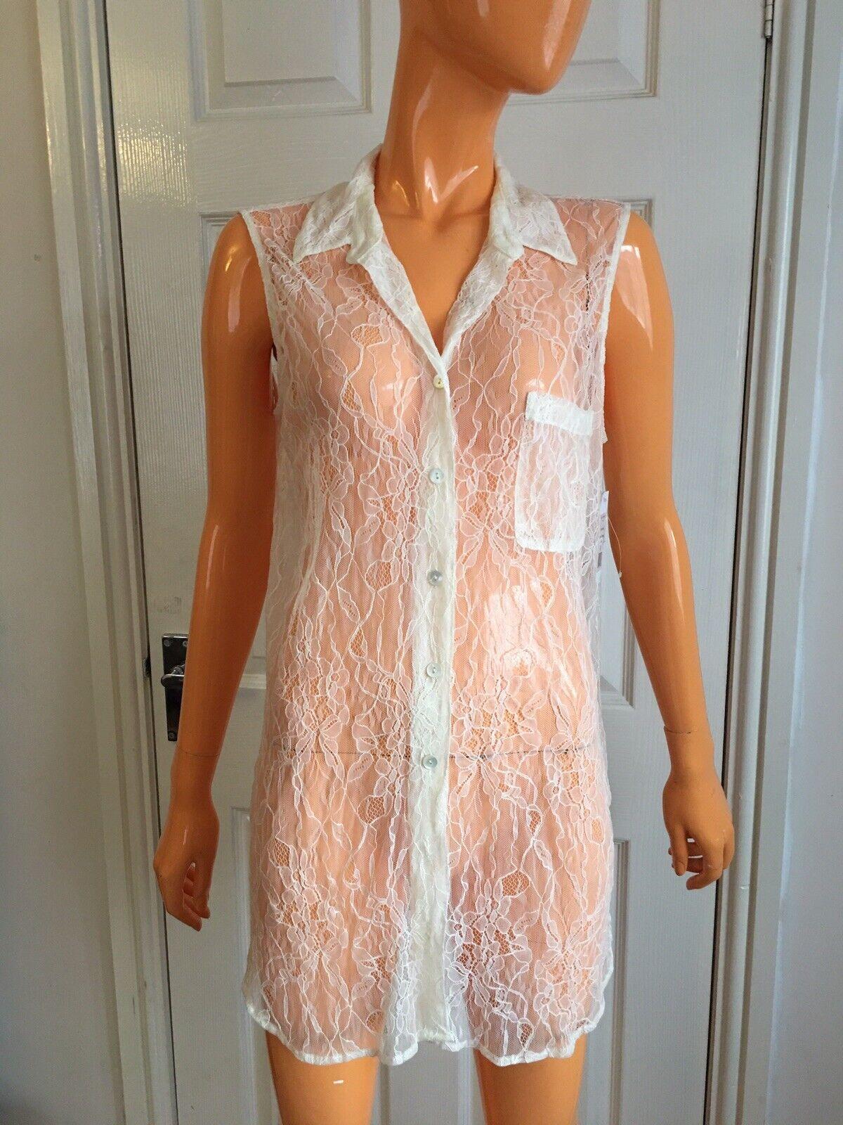 Equipment Donna naturale bianco pizzo senza maniche Sheer Sheer Sheer Lunga Camicia Taglia M UK8-10 Nuovo con etichette 3788de