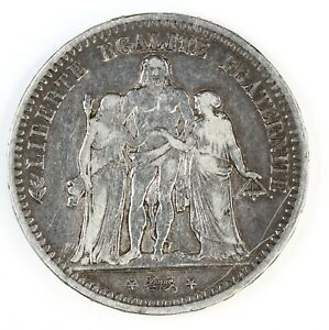 Raw-1849-A-France-5-Francs-Circulated-French-Silver-Coin