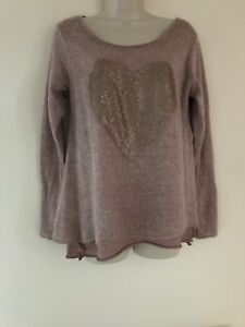 Made-in-Italy-Jumper-Lagenlook-Pullover-Dusky-Pink-size-10-12
