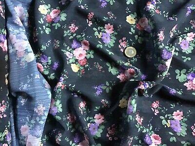 *NEW*Soft Crinkle Chiffon Floral Side Border Print Dress//Craft Fabric*FREE P/&P*