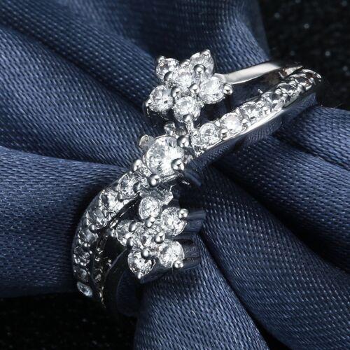 Bijoux Fashion 925 Silver White Topaz Anneaux Femmes Fiançailles Taille 6-10