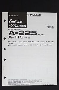 Pioneer-A-225-A-115-Original-Stereo-Amplifier-Additional-Service-Manual-O115