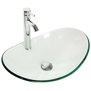 Image Is Loading Bathroom Tempered Clear Glass Vessel Sink Oval Bowl