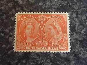 CANADA-POSTAGE-STAMP-SG133-TWENTY-CENTS-JUBILEE-VERMILLION-1897-MOUNTED-MINT
