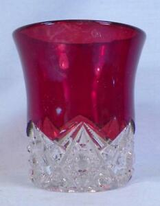 Button Arches Ruby Stain Toothpick Holder Early American Pattern Glass Stained