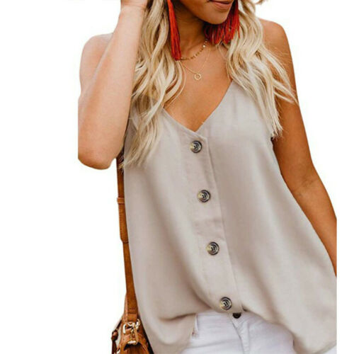 Damen Ärmellos Tank Tops Tanktop Bluse Trägertop Weste T-Shirt Sommer Hemd Vest
