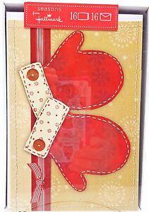 Scrapbook-Mittens-Christmas-Holiday-Cards-16ct-Hallmark-New