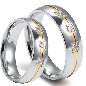 2-PCS-His-Hers-Matching-Wedding-Ring-Band-Set-Stainless-Steel-with-GOLD-IP-Inlay