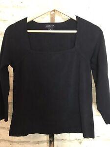 Ann-Taylor-Women-Black-Silk-Blend-Top-3-4-Sleeve-Square-Neckline-Medium