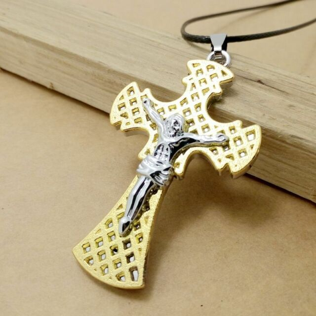 Gift Unisex's Men Gold Silver Stainless Steel Jesus Cross Pendant Necklace Chain