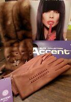 Elegant Genuine Deer Leather Gloves, Color Cognac Size 7