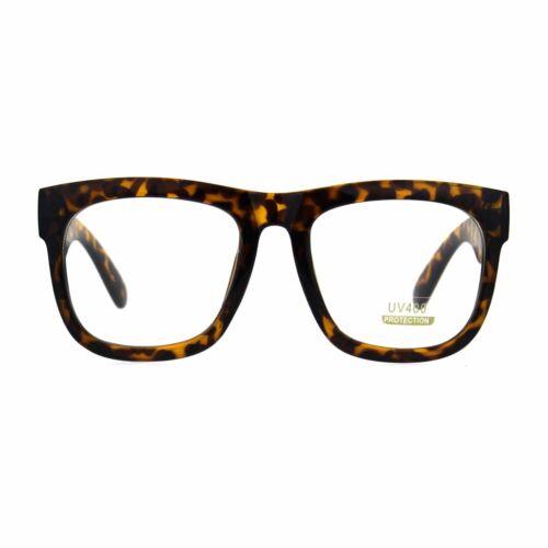 Mens Thick Plastic Horn Rim Rectangular Geek Eye Glasses