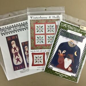 Lot-of-3-Christmas-holiday-applique-patterns-snowman-Santa-winterberry-and-holly
