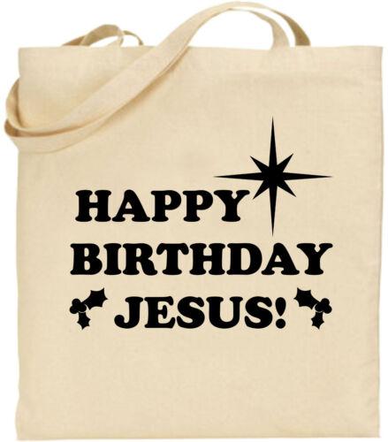 Happy Birthday Jesus Large Cotton Tote Shopping Xmas Bag Secrete Christmas Gift