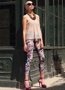 Strict Trasparenze Floreado Diseño De Flores Lila Leggings Talla M/l Hosiery & Socks