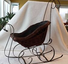 """Antique Primitive Wicker Sleigh Display Christmas or Doll 21.5"""""""
