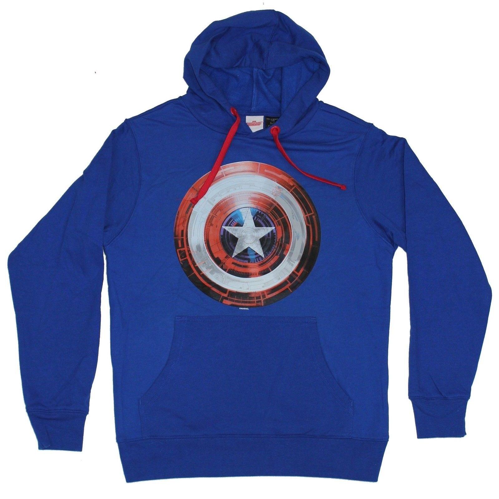 Captain America (Marvel) Pull Over Hoodie- Shining Full Farbe Shield Logo Image