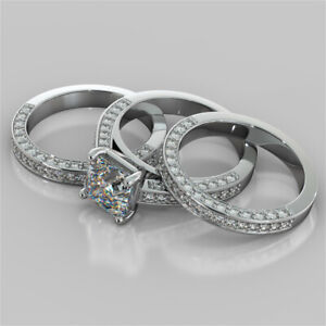 3.05 Ct Asscher Moissanite Band Set 14K Solid White Gold Wedding Ring Size 5 6
