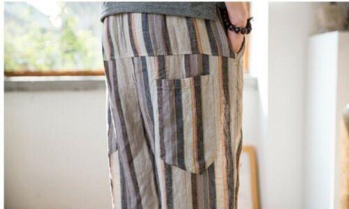Herrenmode Casual Strand Gestreift Baumwoll Leinenhose Elastische Taille Hosen D