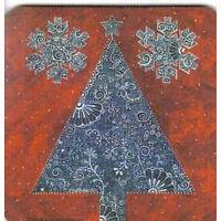 8 Absorbent Drink Coasters Christmas Spirit Designs - Tree