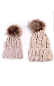 Mother Baby Kids Knit Pom Bobble Hat Kids Girls Boys Winter Warm Beanie Caps