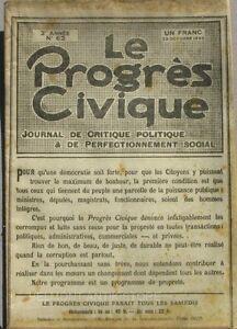 Modeste Le Progrès Civique N°62 1920 - Journal De Critique Politique - Henri Dumay Rare Saveur Aromatique