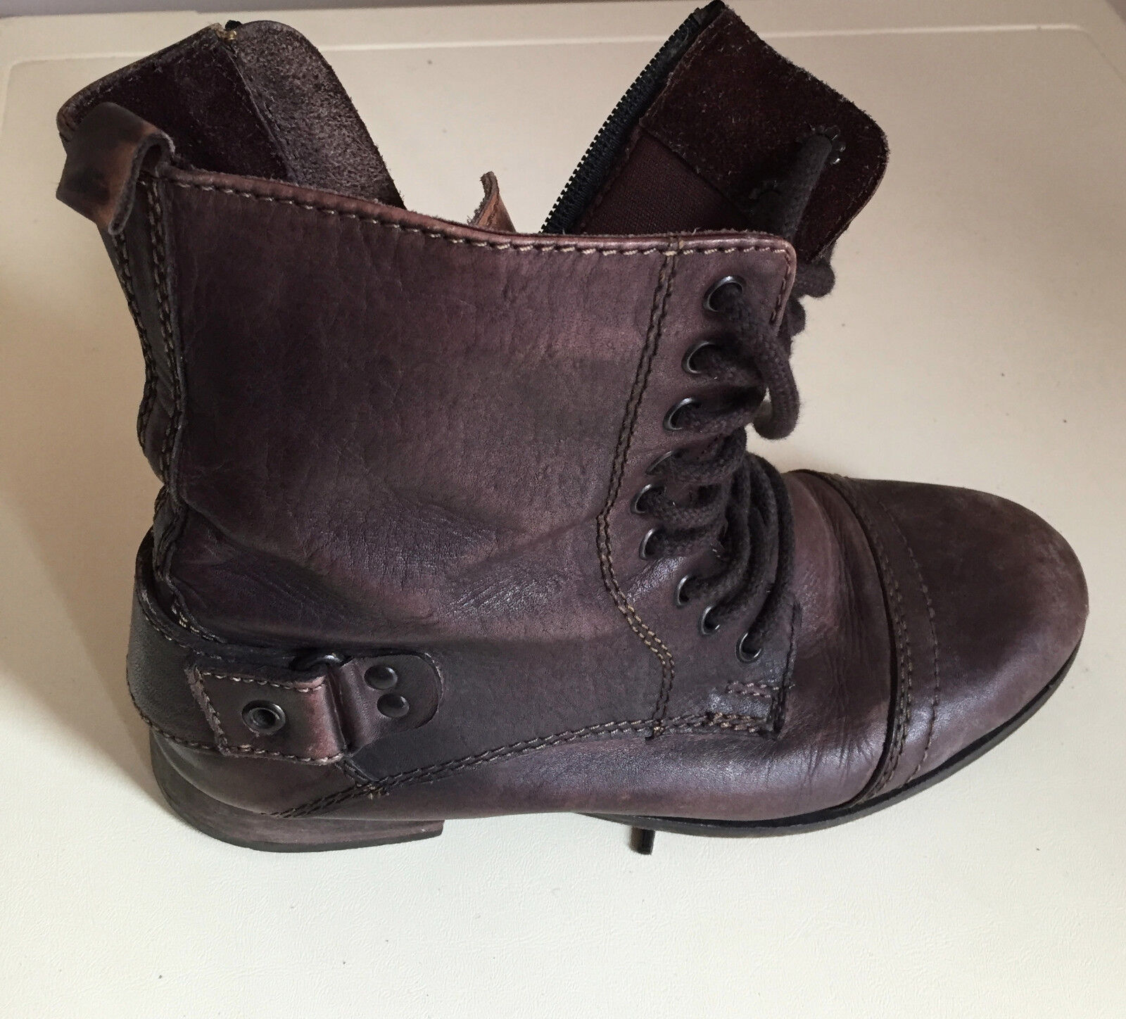 WOMEN RIVERISLAND BROWN ANKLE LEATHER 38 BOOTS SIZE 38 LEATHER b38b8b