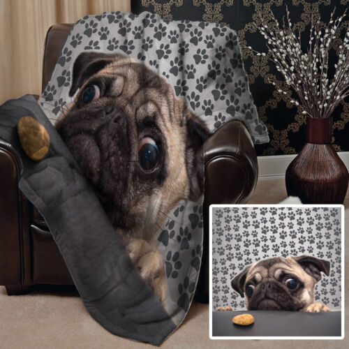 PUG DOG WITH BISCUIT DESIGN SOFT FLEECE BLANKET COVER THROW OVER LARGE  BED