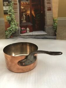 French-Gourmet-Chef-Copper-Sauce-Pan-Pot-Crown-PARIS-Stamped-Cast-Iron-Handle