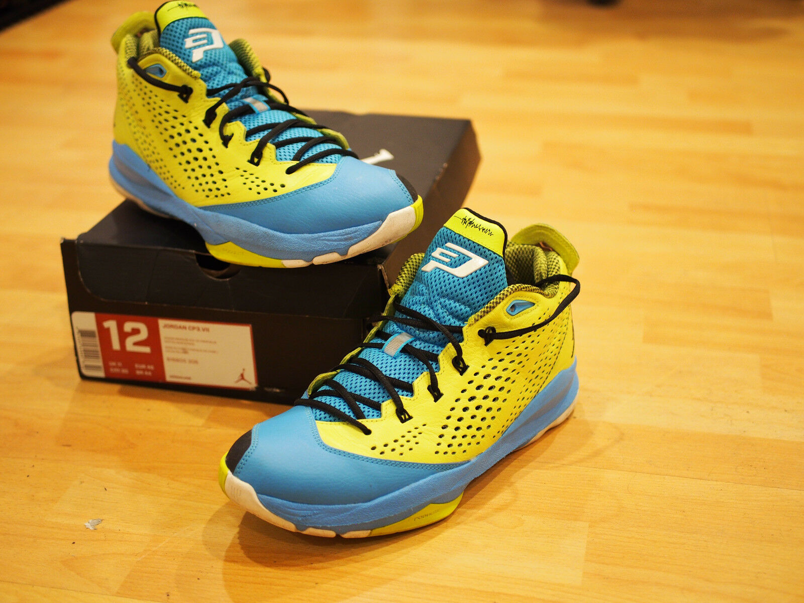 Mens Nike Air Jordan CP3 VII Venom Green Powder bluee Basketball shoes (Size 12)