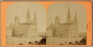 Rouen Eglise St. Ouen Francia Foto Stereo PL55L2n Vintage Albumina c1870