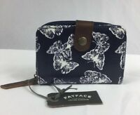 Fatface Uk ✨ Bifold Wallet W/zip Pocket Coated Canvas Navy Butterfly Print