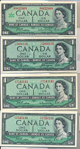 RC0124-Canada-1954-1-AU-UNC-lot-of-4-various-signiture-combine-shipping