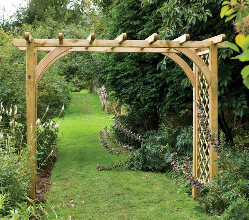 8ft x 4ft WOODEN GARDEN ARCH TIMBER OUTDOOR ARCH PRESSURE TREATED PERGOLA NEW | eBay
