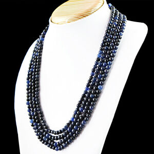 426-50-Cts-Earth-Mined-Rich-Blue-Sapphire-4-Line-Round-Shape-Beads-Necklace