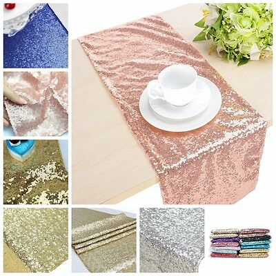 13×72 Inch Colorful Sparkly Sequin Table Runners Tablecloth for Wedding Party
