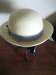 16) Un Charmant Fait à La Main Olney Panama Filles Chapeau Uni Avec Ruban Bleu Taille S-afficher Le Titre D'origine