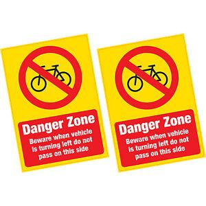 2-X-ciclista-cuidado-con-zona-de-peligro-Advertencia-Pegatina-de-vinilo-ambiente-Camion-Van