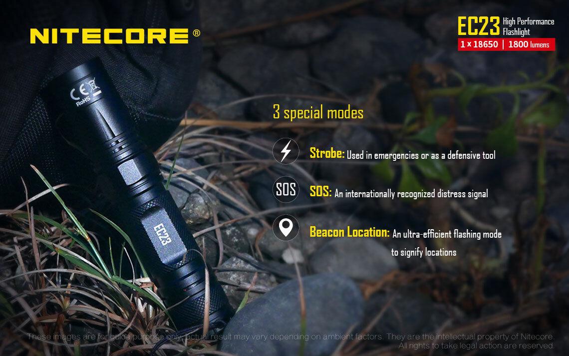 Combo: Nitecore 3500mAh EC23 Flashlight w/2x 3500mAh Nitecore 10Amp 18650, SC2 Charger, & NCP30 e65816