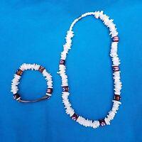 Puerto Rico Flag Unisex Shells & Coconut Wood - Set Necklace & Bracelet - Rican