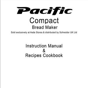 Pacific Bread Machine Manual Pb001 Pb002 Pbm3 Ebay