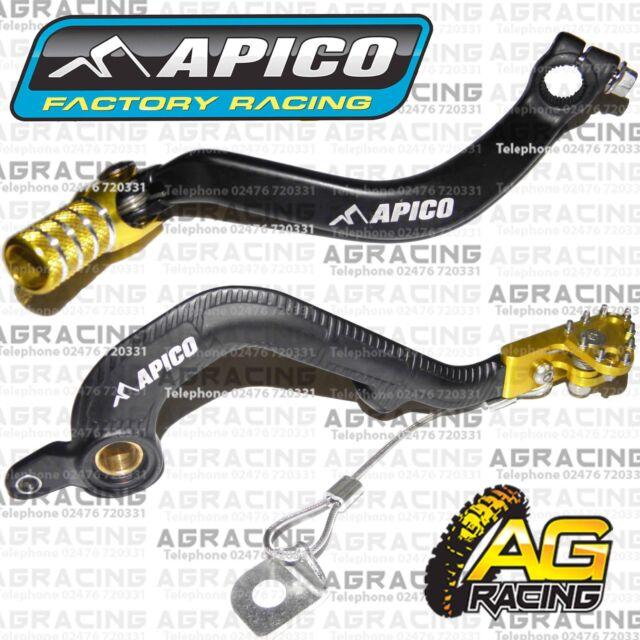 Apico Black Yellow Rear Brake & Gear Pedal Lever For Suzuki RM 250 2001-2008 MX