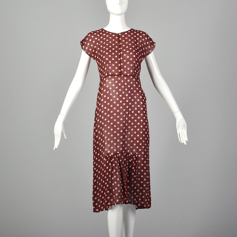 XXS 1930s Red Dress White Polka Dot Sheer Silk Ch… - image 1