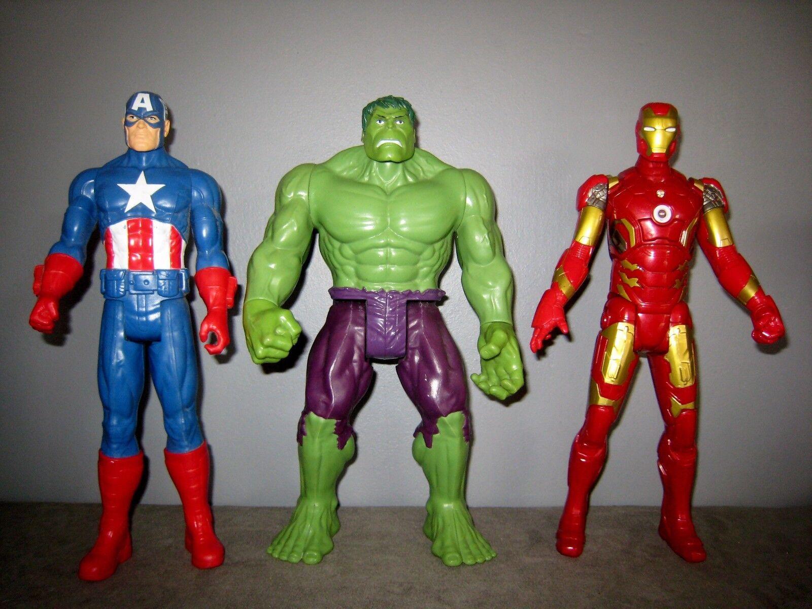 Avengers Figurines Hulk - Iron Man(sonore & lumineuse)Capitaine América (30cm)