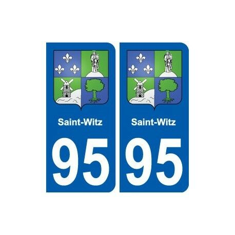 95 Saint-Witz blason autocollant plaque stickers ville -  Angles : arrondis